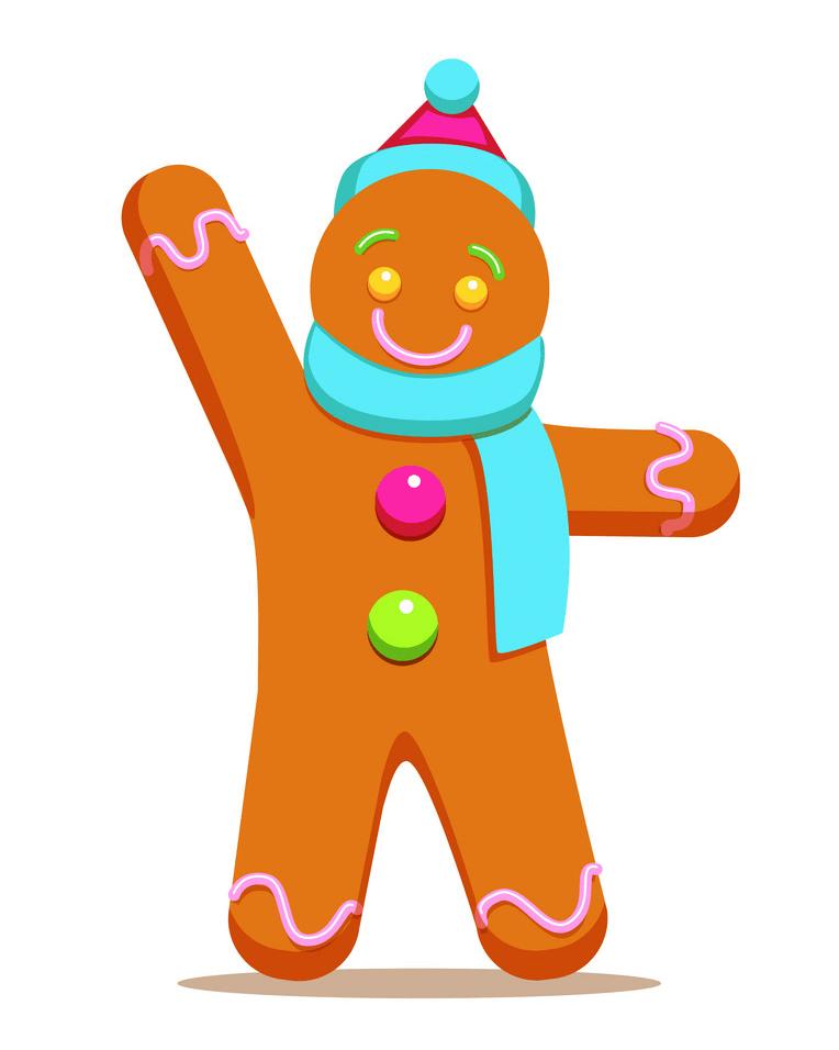 Gingerbread Man Waving Hand clipart