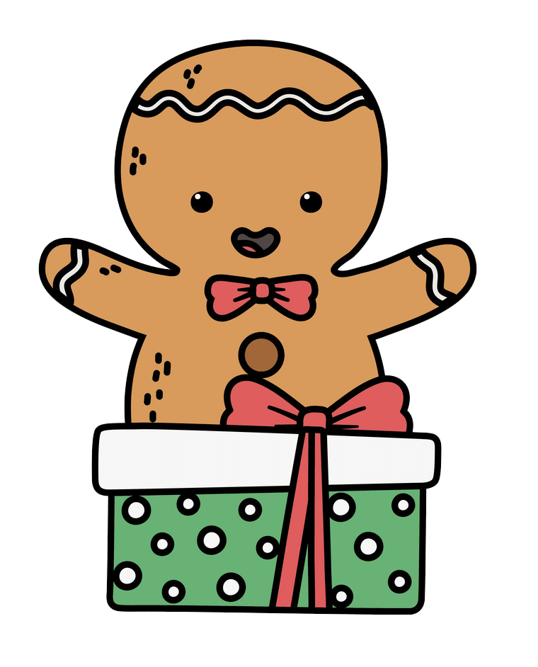 Gingerbread Man with Gift clipart transparent