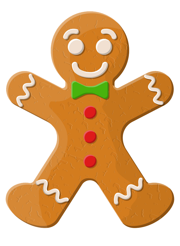 Gingerbread Man with Green Bow clipart transparent