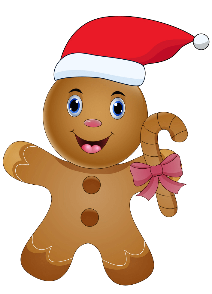 Gingerbread Man with Santa Hat clipart transparent