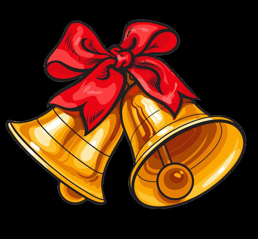 Golden Jingle Bells clipart transparent