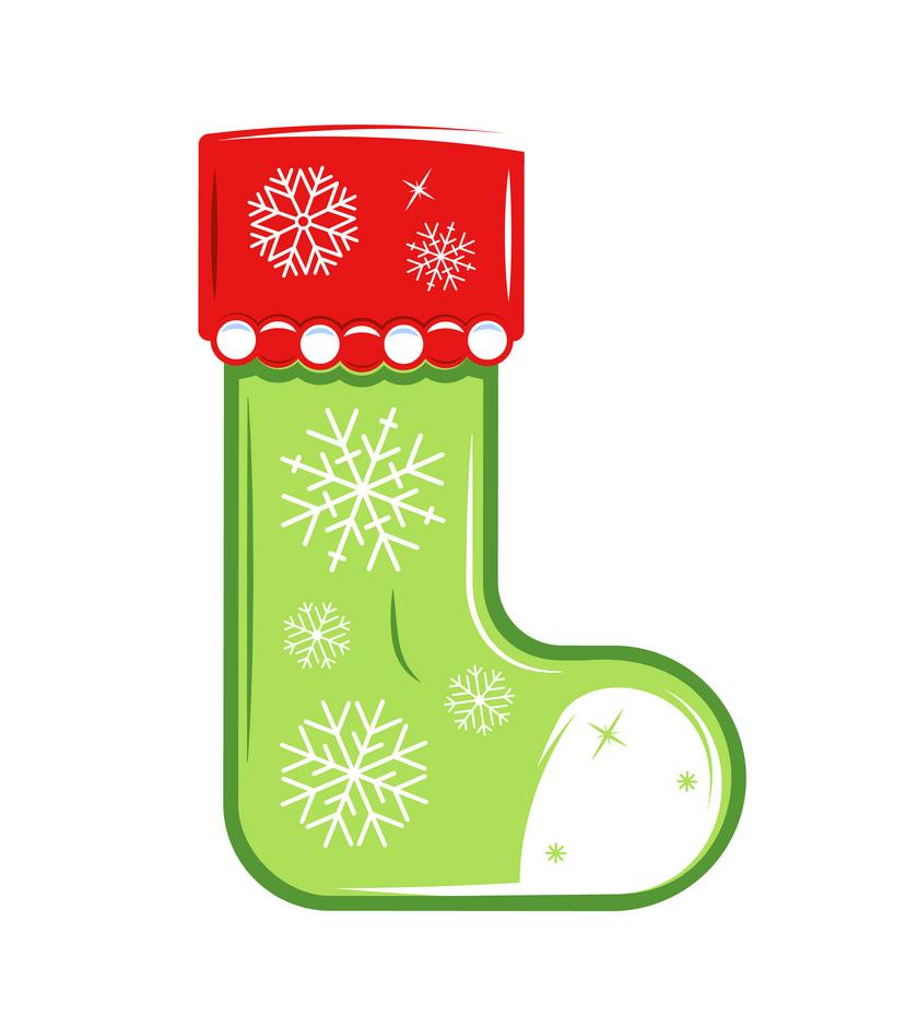 Green Xmas Stockings clipart