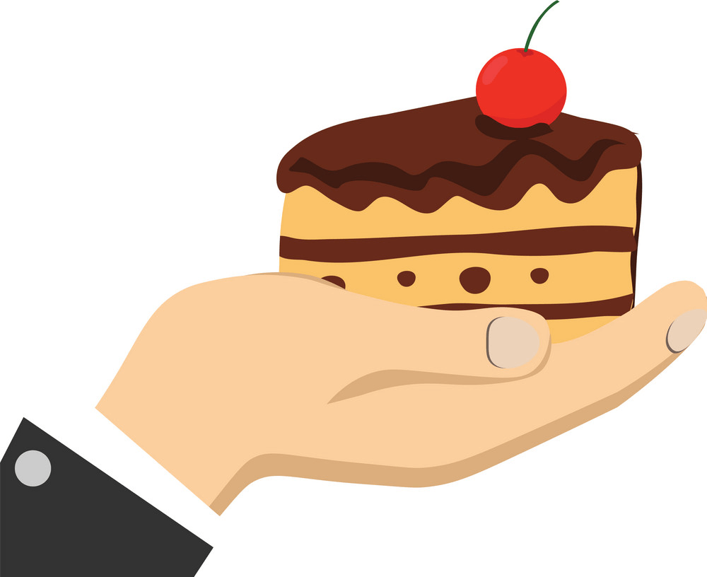 Hand Holding Cake clipart