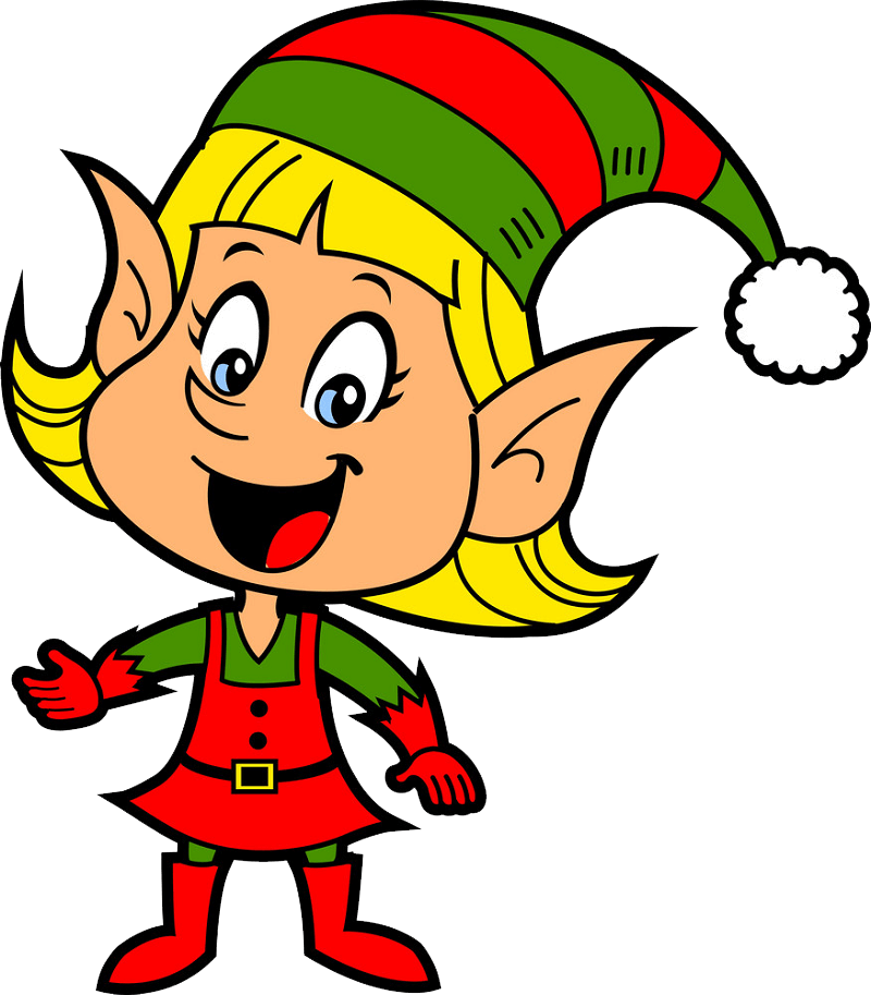 Happy Christmas Elf clipart transparent