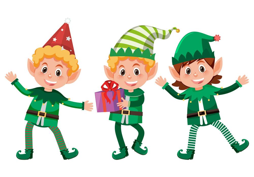 Happy Christmas Elves clipart