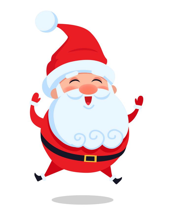 Happy Santa Claus Jumping clipart