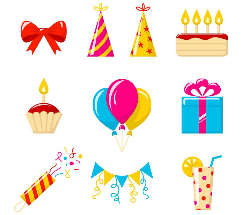 Icons Happy Birthday clipart