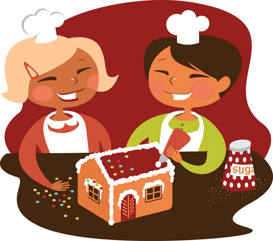 Making Gingerbread House clipart