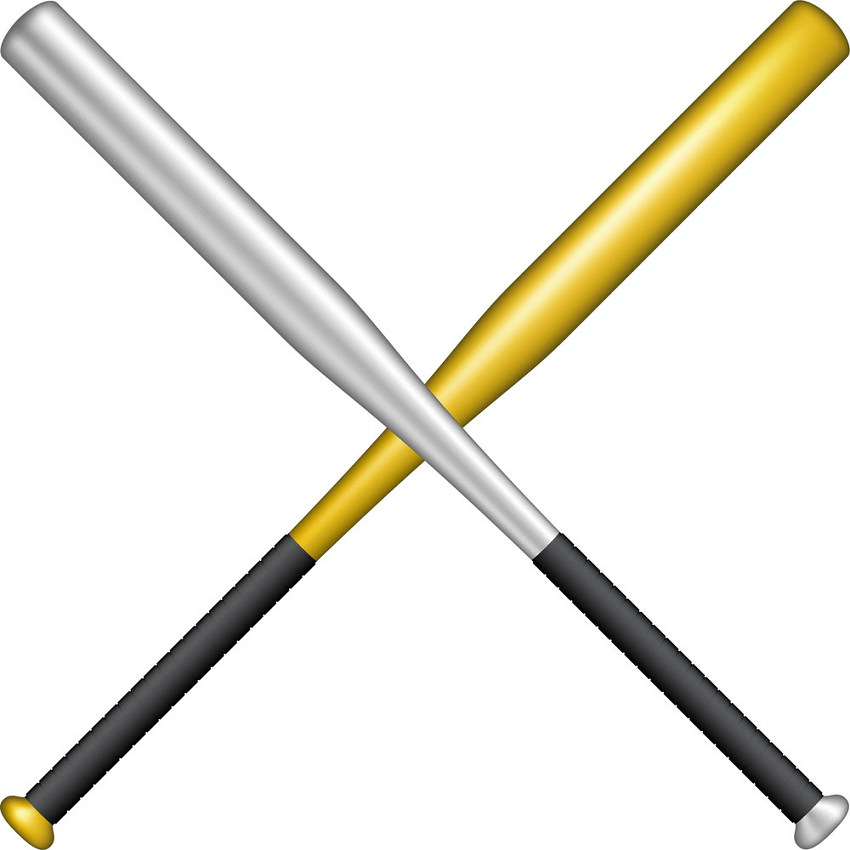 Metal Baseball bats clipart