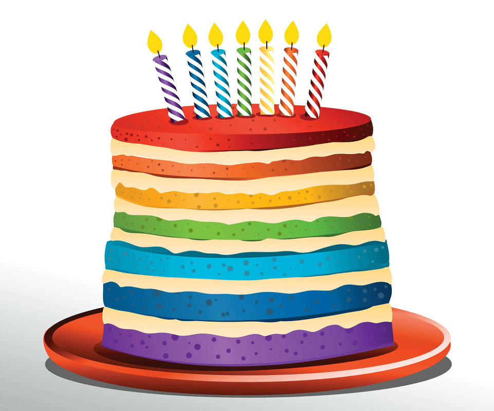 Rainbow Birthday Cake clipart