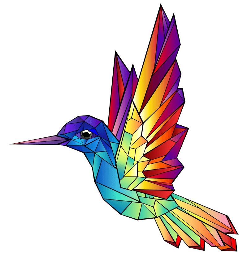 Rainbow Hummingbird clipart transparent