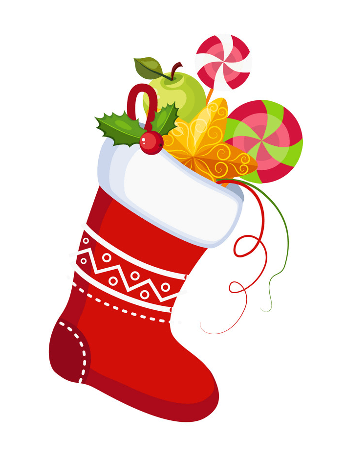 Red Christmas Stocking with Sweets clipart
