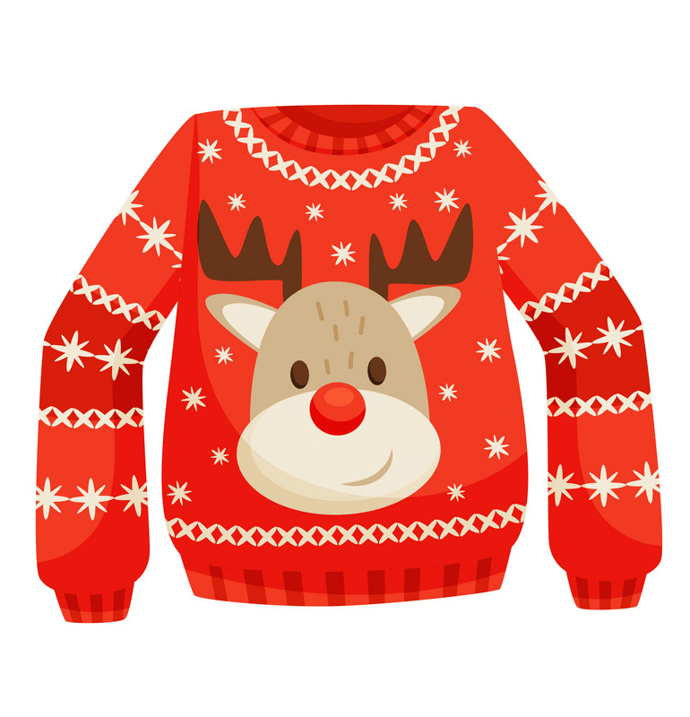 Red Christmas Sweater with Deer clipart