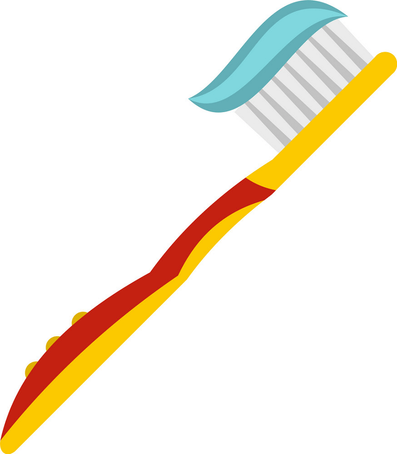 Red and Yellow Toothbrush clipart