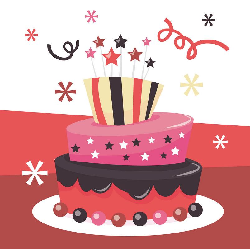 Retro Birthday Cake clipart