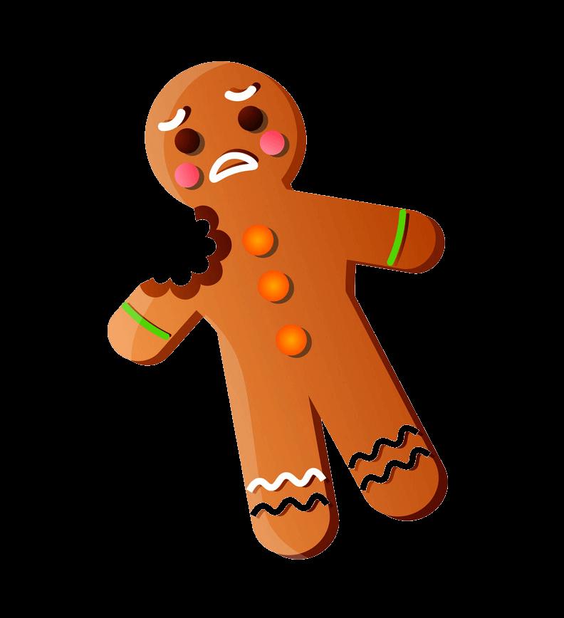 Sad Gingerbread Man with Bite clipart transparent