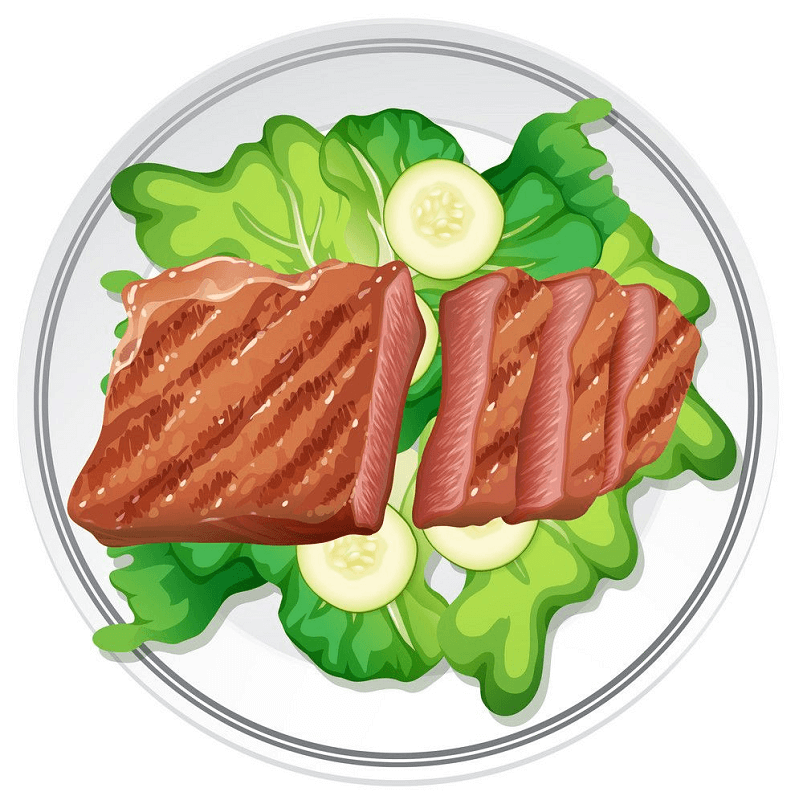Salad and Beef Steak clipart