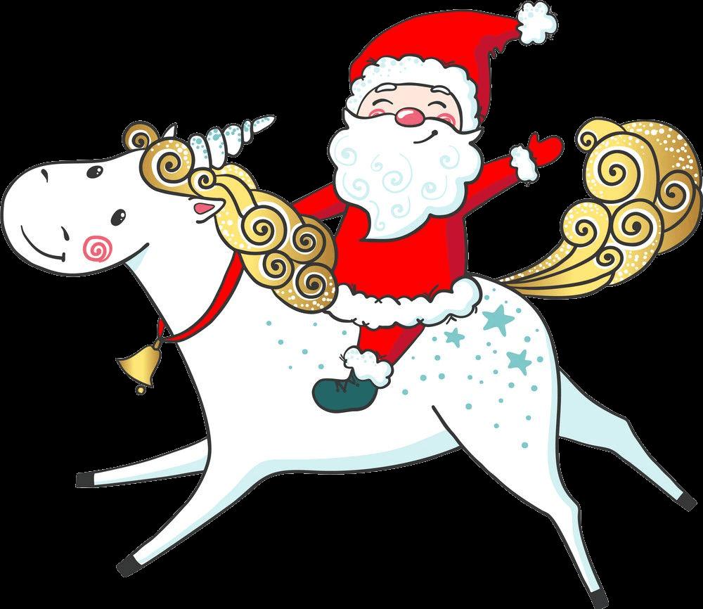 Santa Claus Riding Unicorn clipart transparent