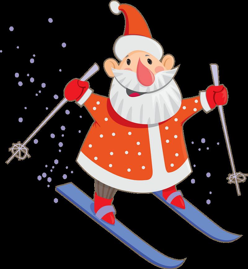 Santa Claus Skiing clipart transparent