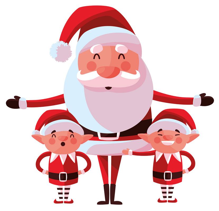 Santa Claus with Elves clipart