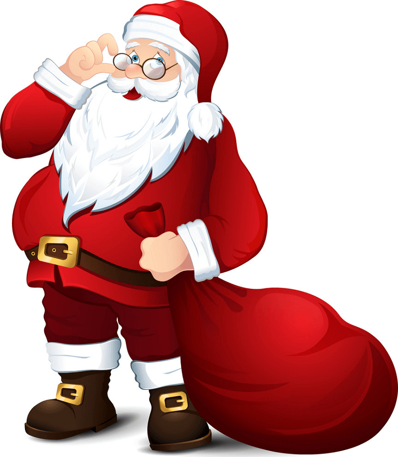 Santa Claus with Gifts Bag clipart