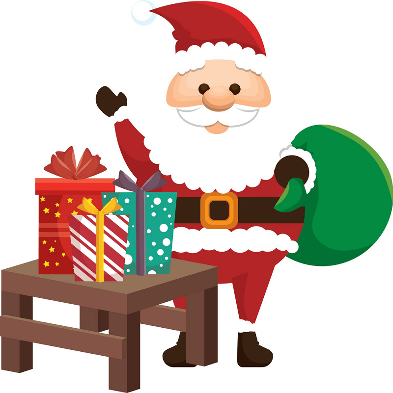 Santa Claus with Gifts clipart