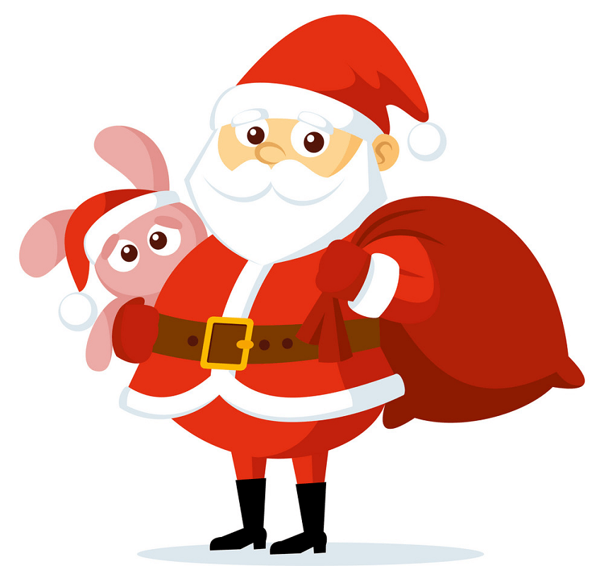 Santa Claus with Pink Bunny clipart