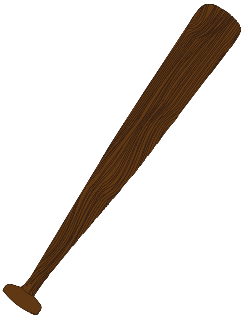 Simple Wooden Baseball bat clipart transparent