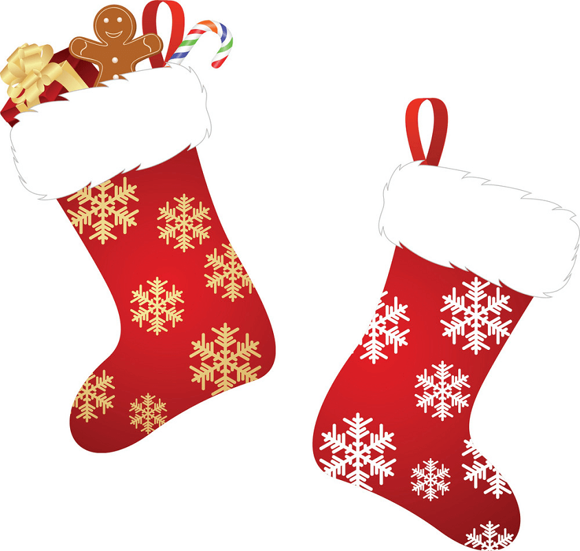 Snowflakes Christmas Stockings clipart