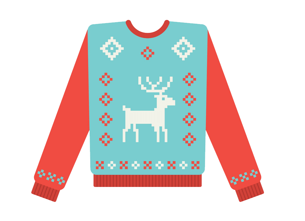 Ugly Christmas Sweater with Deer clipart transparent
