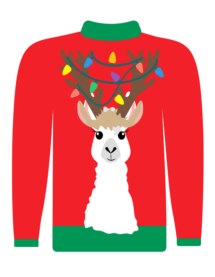 Ugly Christmas Sweater with Deer transparent