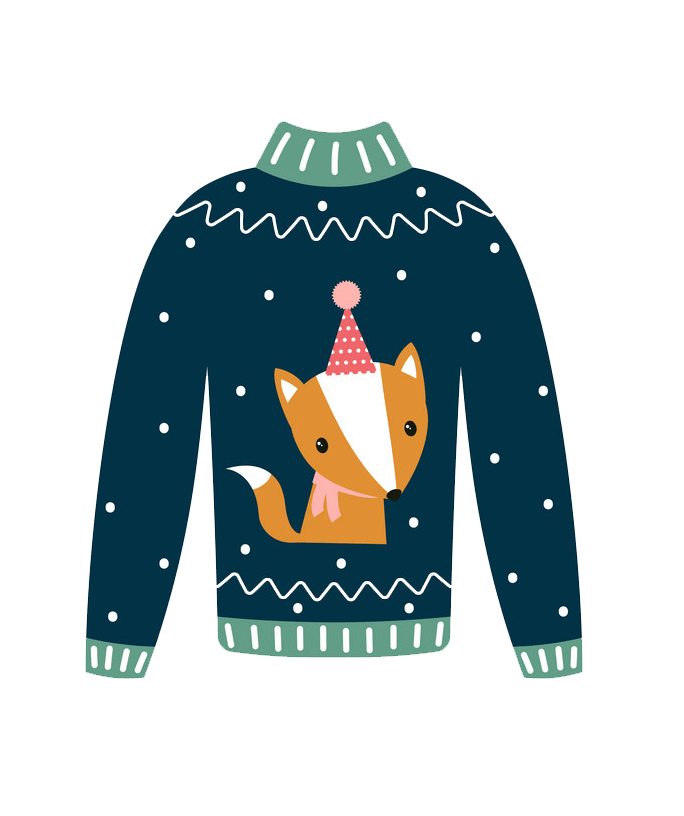 Ugly Christmas Sweater with Fox clipart transparent