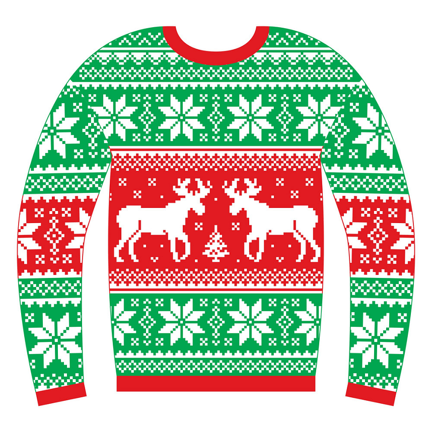 Ugly Christmas Sweater with Reindeer clipart