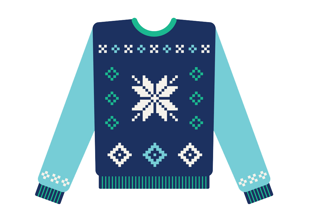 Ugly Christmas Sweater with Snowflake clipart transparent