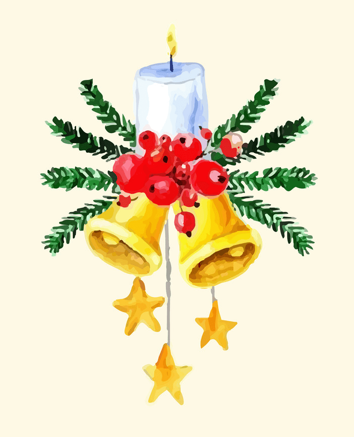 Watercolor Christmas Bells clipart