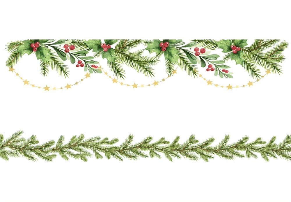 Watercolor Christmas Garland clipart