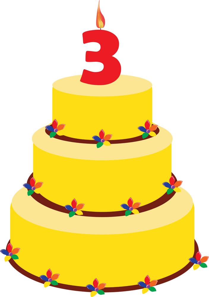 Yellow Birthday Cake clipart