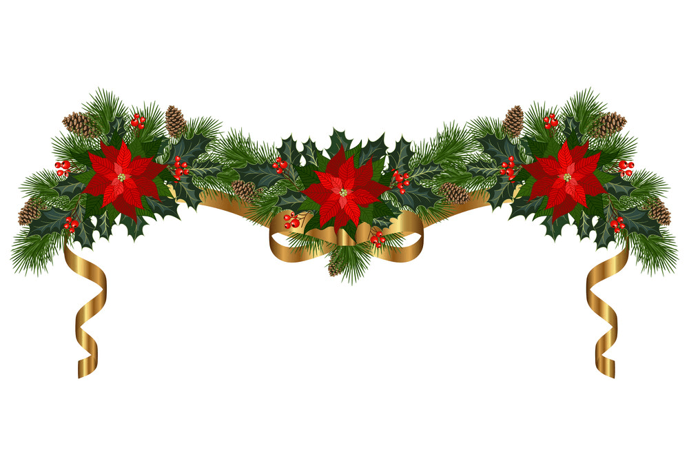 Yellow Ribbon with Christmas Garland clipart