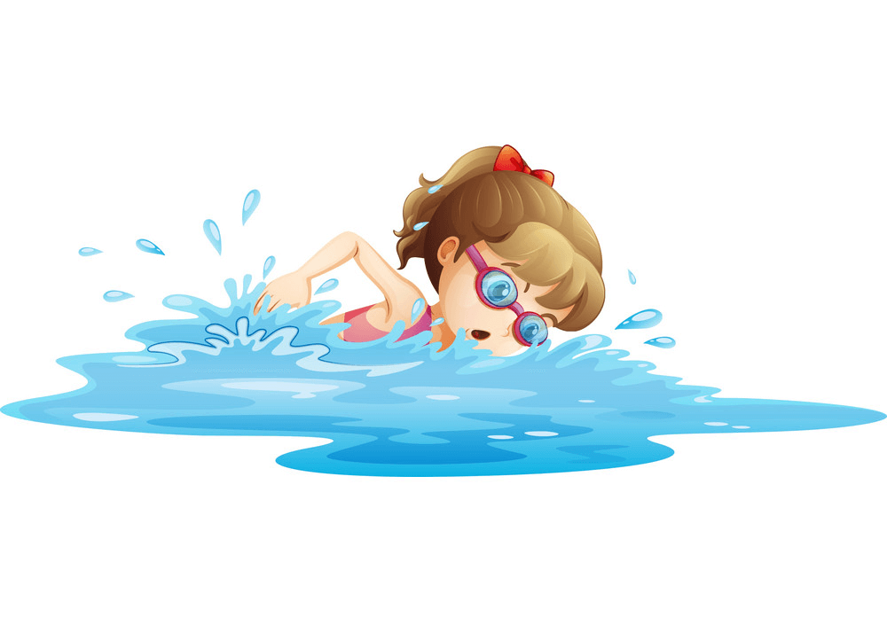 A Girl Swimming clipart