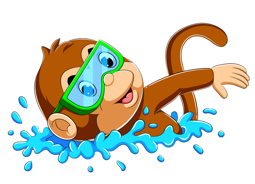 A Monkey Swimming clipart transparent
