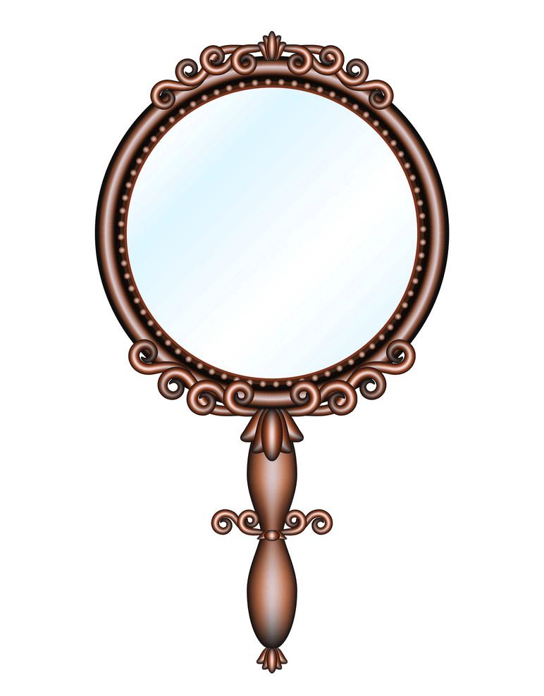 Antique Retro Hand Mirror clipart