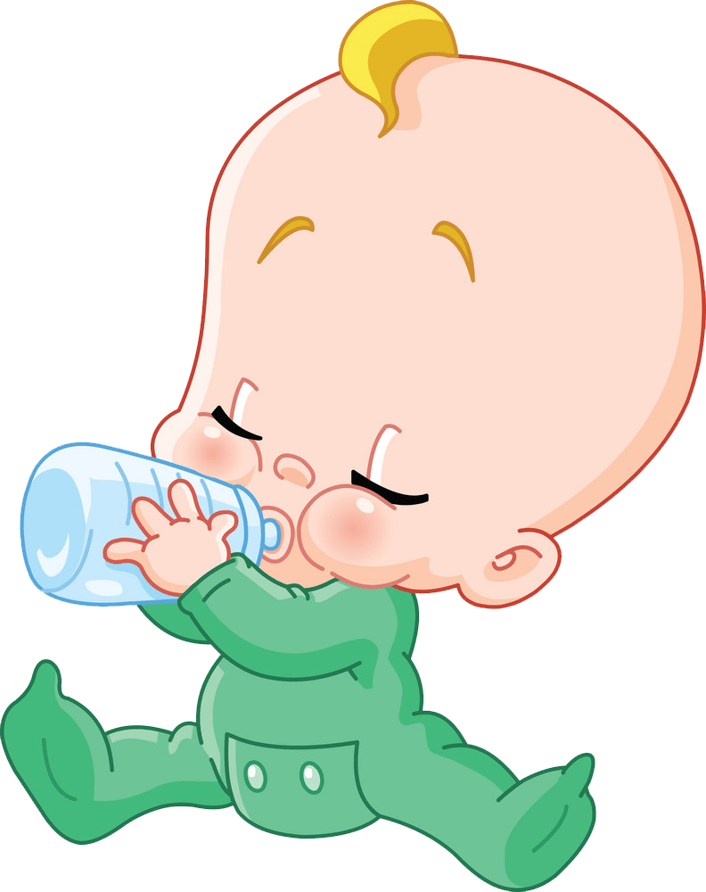 Baby with Baby Bottle clipart transparent