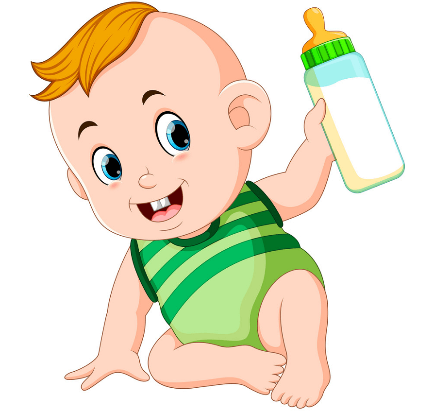 Baby with Baby Bottle clipart