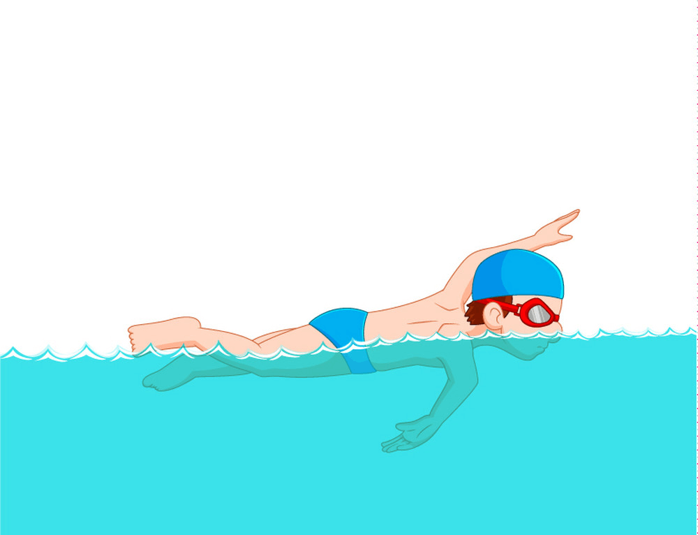 Boy Practice Swimming clipart