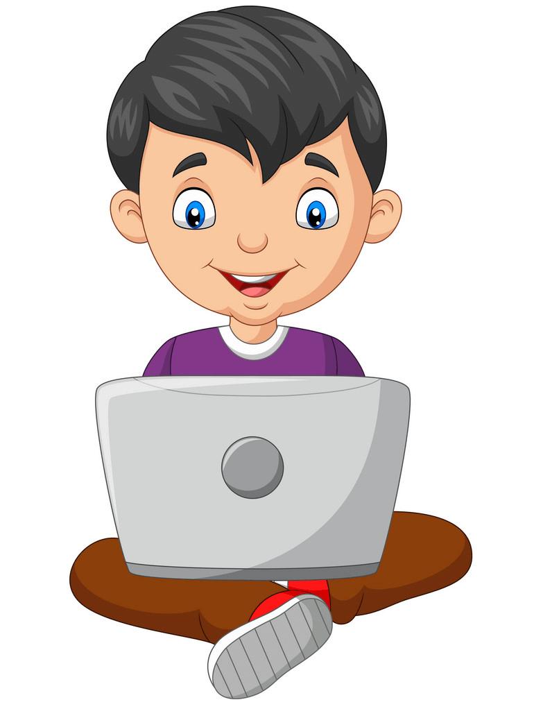 Boy Using Laptop clipart