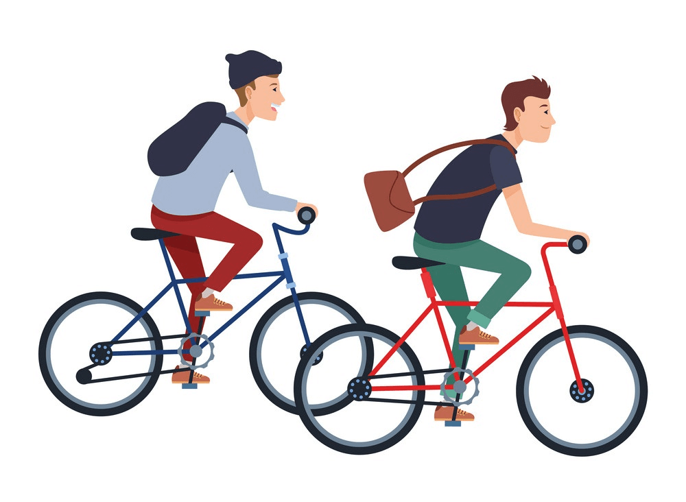 Boys Riding bike clipart
