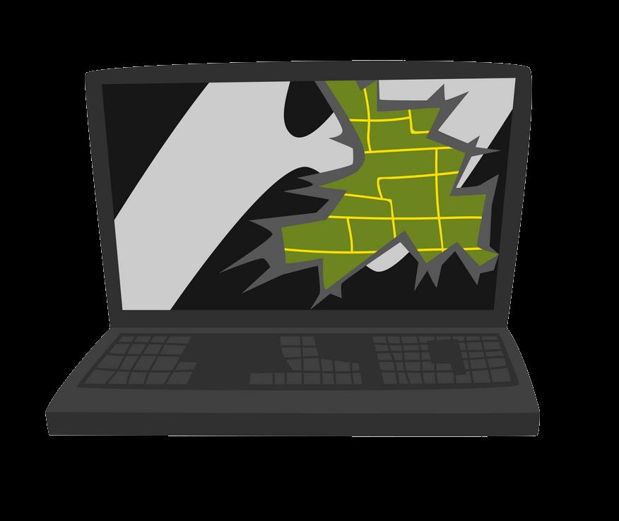Broken Laptop clipart transparent