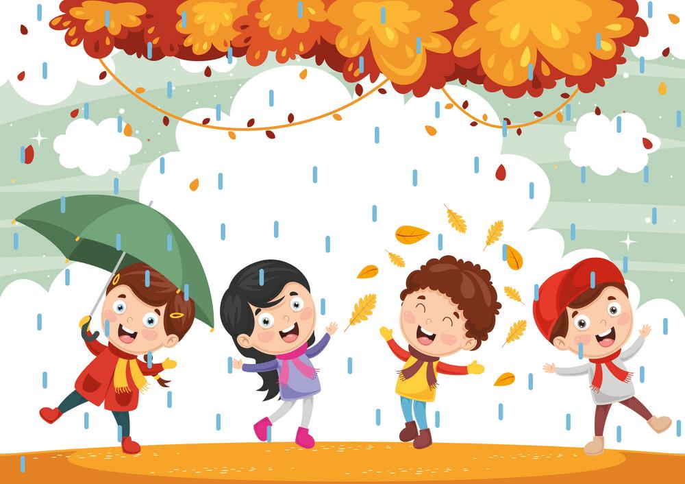Children with Autumn clipart