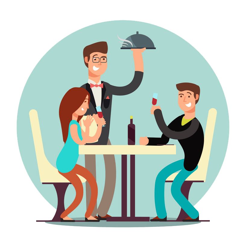 Couple in Restaurant clipart transparent
