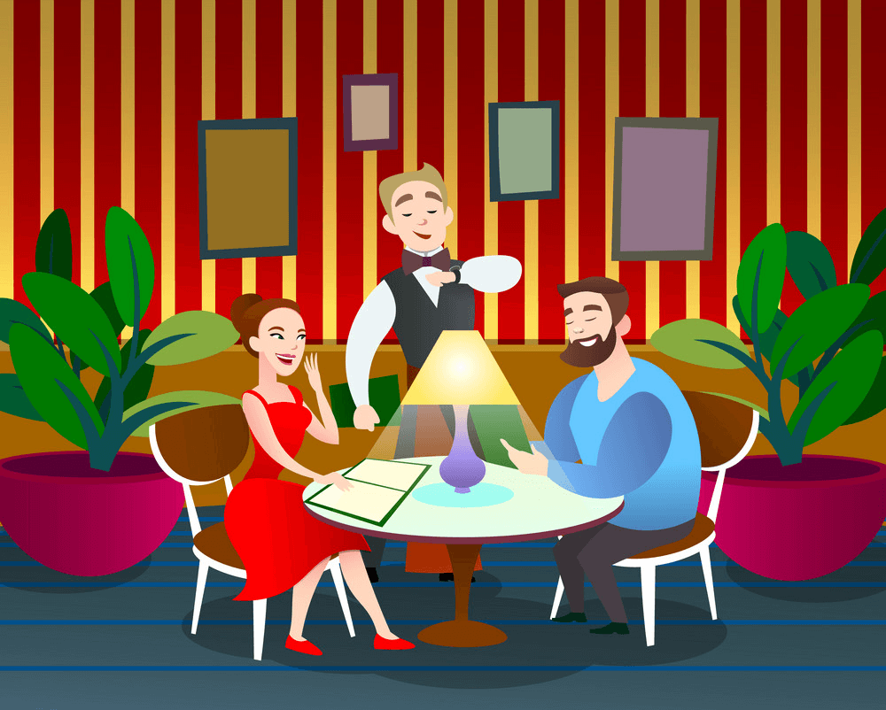 Couple in Restaurant clipart